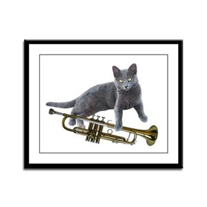 Cat with Trumpet Framed Panel Print